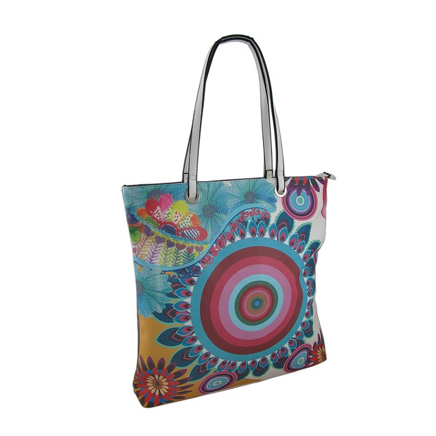 Colorful Floral Print Large Textured Vinyl Tote Womens Tote Bags