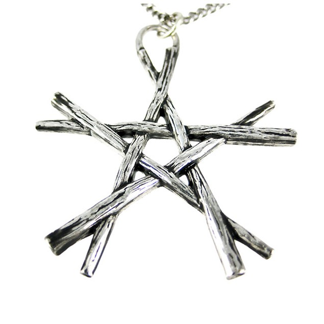 Chrome Plated Pentagram Of Wands Pendant / Womens Pendant Necklaces