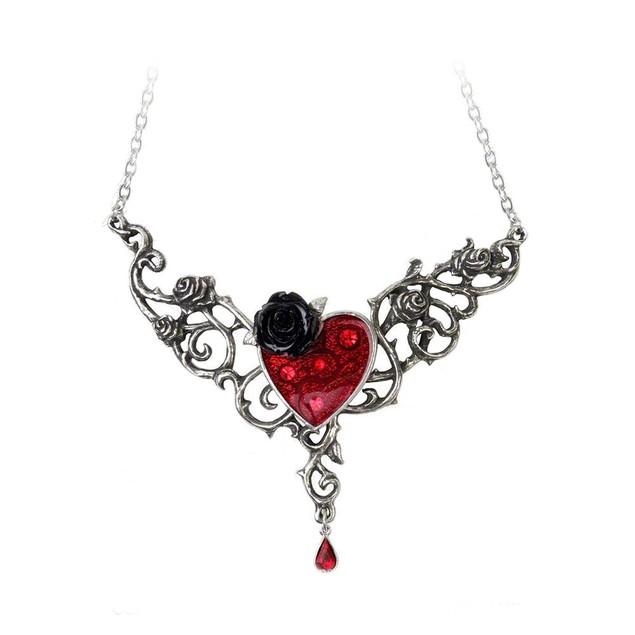 Alchemy Gothic Blood Rose Heart Pendant Necklace Womens Pendant Necklaces