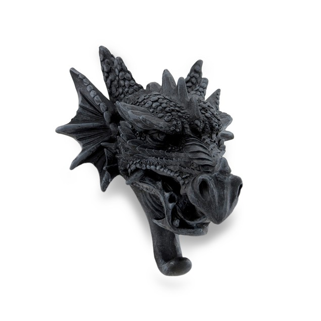 Cast Iron Finish Gothic Dragon Head Sculptural Decorative Wall Hooks