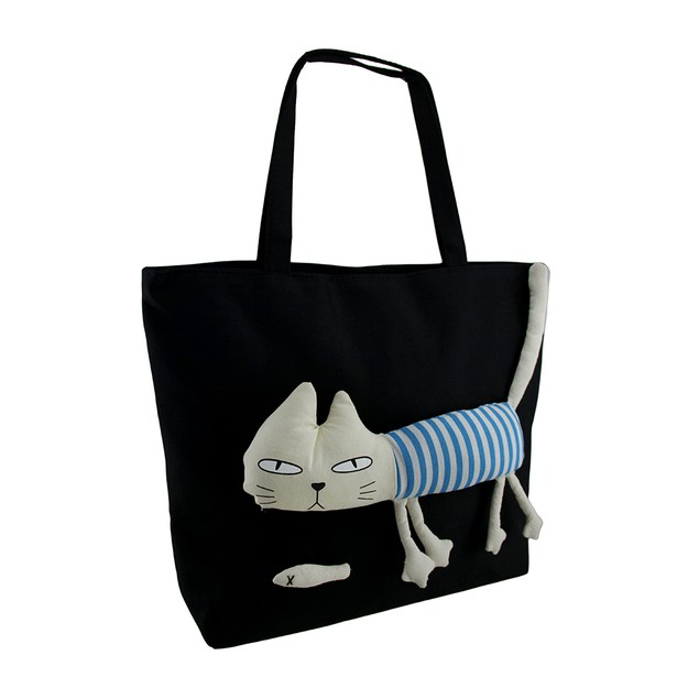 Striped Rag Doll Cat Black Cotton Canvas Tote Bag Womens Tote Bags