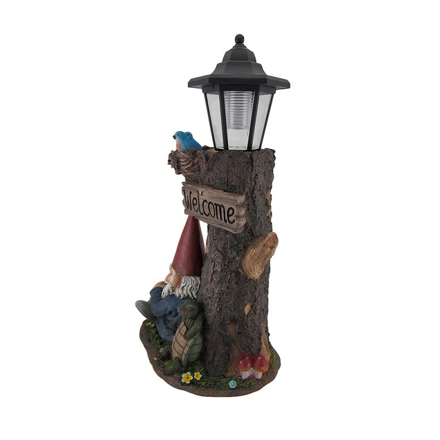 Gnome Nap Station And Welcome Sign Solar Led Outdoor Figurine Lights