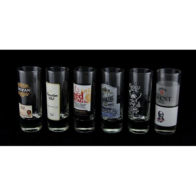 Set Of 6 Glass Top Shelf Label Shot Glasses Shot Glasses