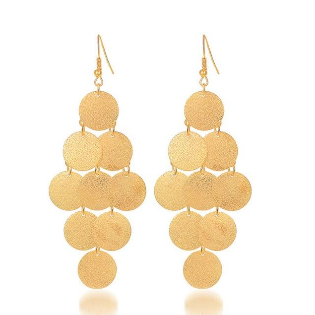 Gold Plated Layered Circle Drop Earrings