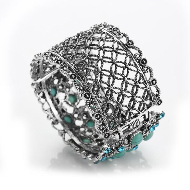 Regal Flower Bed Turquoise Bracelet