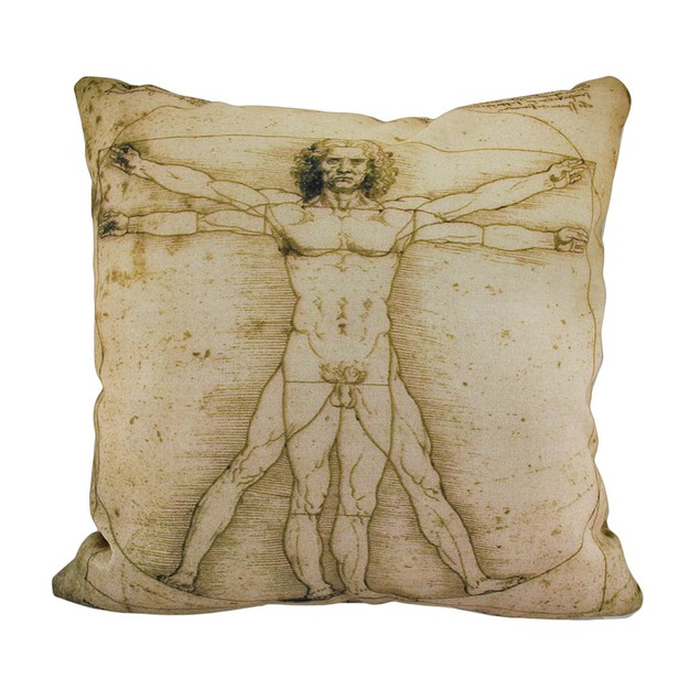 Da Vinci Vitruvian Man Print 18 Inch Indoor / Patio Furniture Pillows