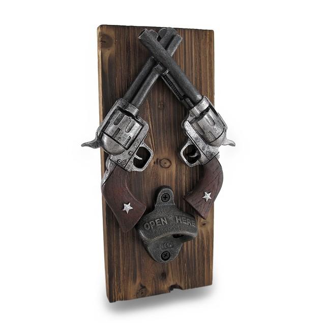 Western Crossed Revolvers Wall Mounted Bottle Bottle Openers