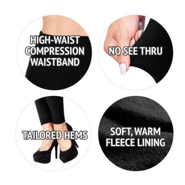 2x Womens Warm Winter Fleece Lined Black Solid Plus Size Pairs Leggings