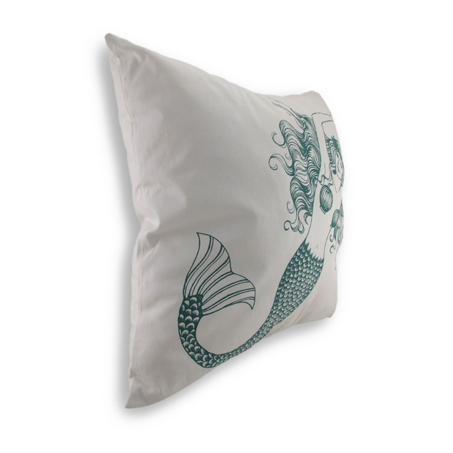 Blue And White Mermaid Cotton Canvas Decorative Throw Pillows