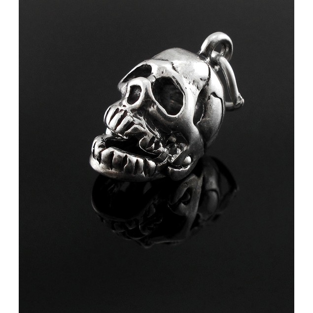 Sterling Silver 3D Skull Charm W/ Movable Jaw Pendants