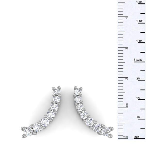 14k White Gold 1/2ct Diamond Ear Climbers