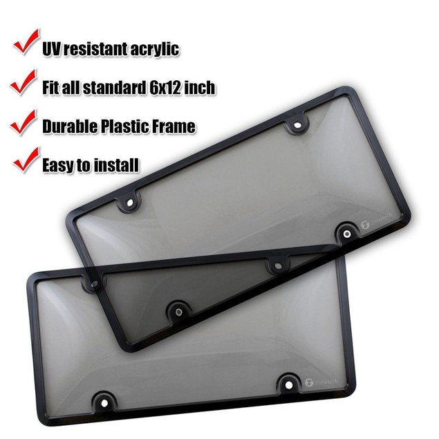 Zone Tech 2x Clear Tinted Smoked License Plate Tag Shield Cover and Frame