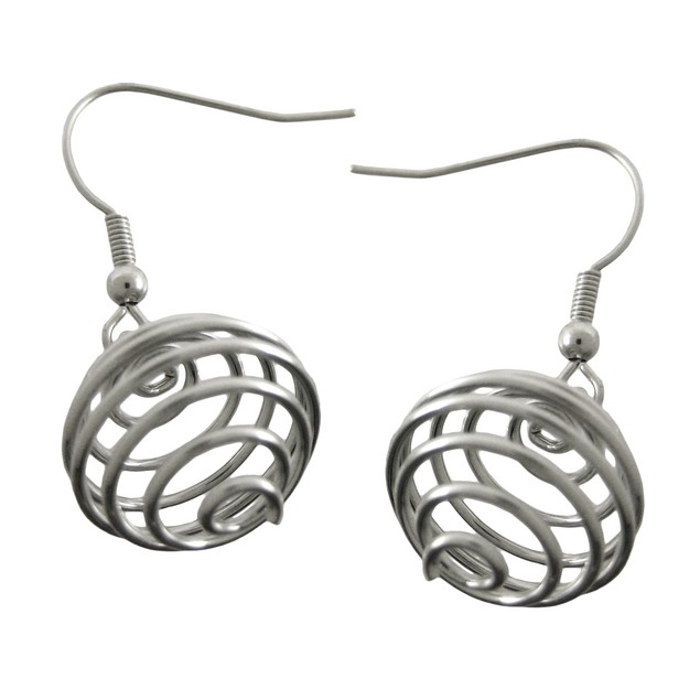 Silvertone Spiral Wire Orb Necklace / Earrings Set Womens Earring And