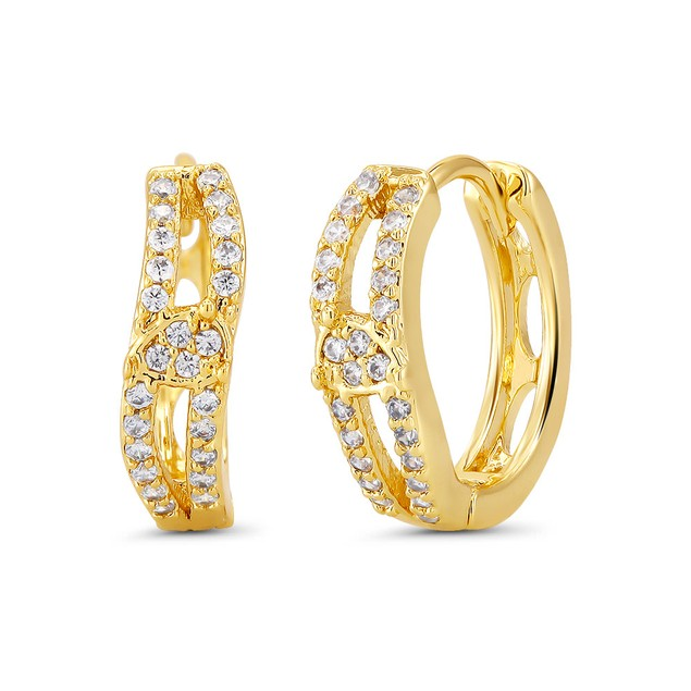 18kt Yellow Criss Goldtone Cubic zirconia  Huggie Earrings