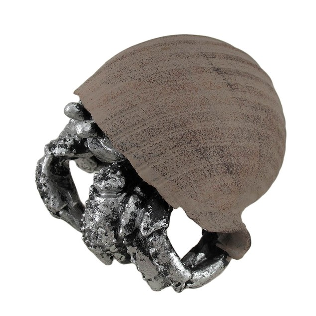 Metallic Finish Hermit Crab In Shell Figurine Set Statues