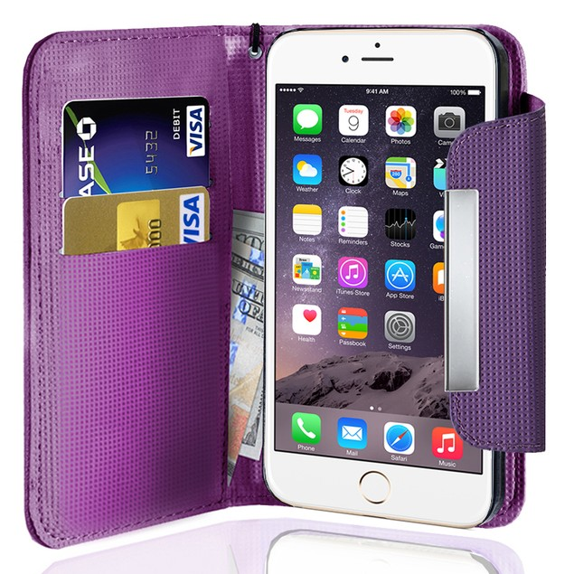 Leather Wallet Case With Clip for Apple iPhone 6 Plus/6S Plus