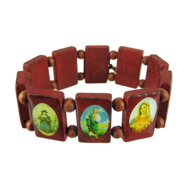 Red Wooden Bead Religious Scene Stretch Bracelet Womens Stretch Bracelets