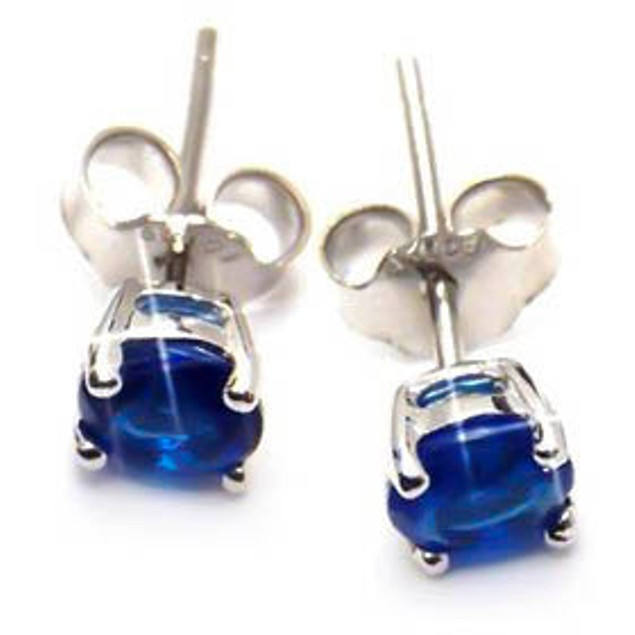 Sterling Silver 4mm Blue Rounded Cubic Zirconia Stud Earrings