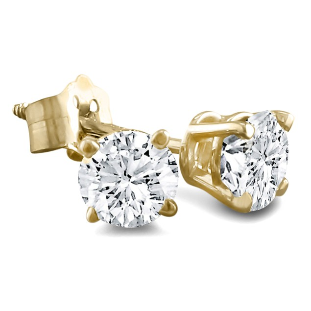 Diamond Stud Earrings Set in Solid 3/8ct 14k Yellow Gold