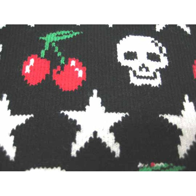 Black & White Skulls, Cherries & Stars Hat / Scarf Womens Cold Weather