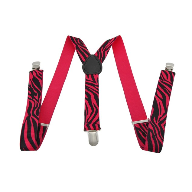 Fluorescent Neon Hot Pink And Black Zebra Print Womens Suspenders