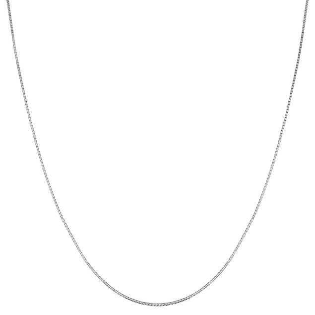 """14k White Gold 1mm Classic Box Chain Necklace, 16""""-18"""""""