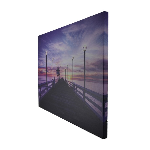 Serene Pier At Sunset Led Lighted Canvas Print Set Prints