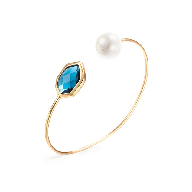 Gold Plated Hectagon Turquoise Gem & Pearl Open Ended Bracelet