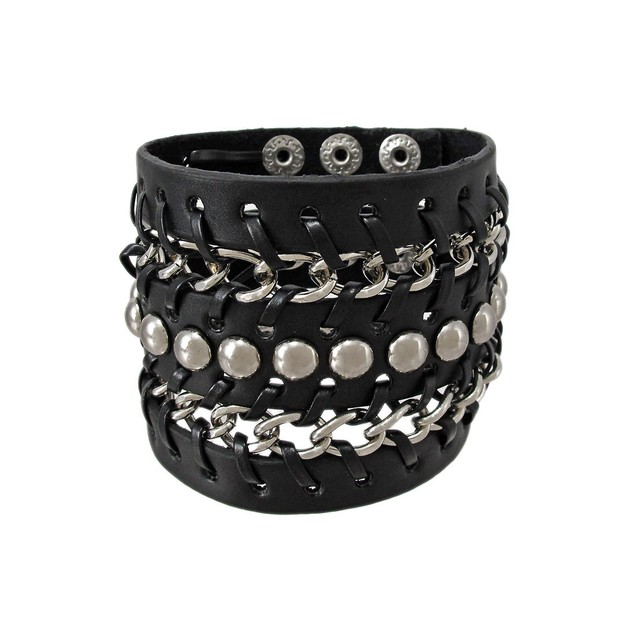 Black Vinyl Chrome Chain Link Studded Wristband Mens Cuff Bracelets