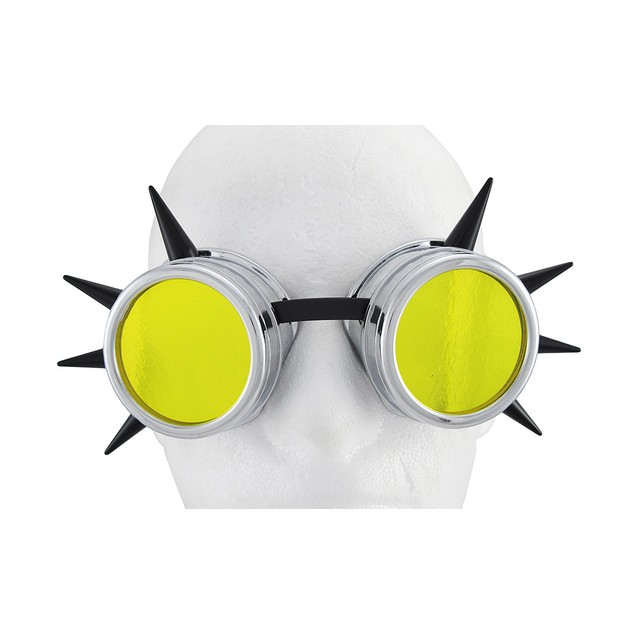 Cyberpunk Black Spiked Silver Decorative Goggles Mens Costume Accessories