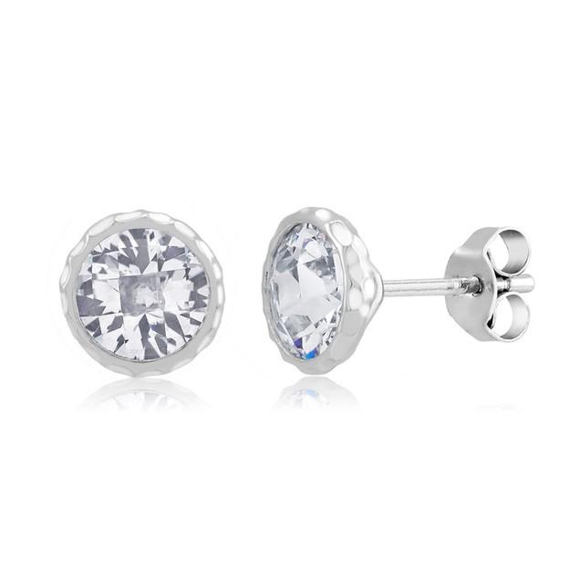 Gold Plated Imitation Diamond Hammered Bezel Earring