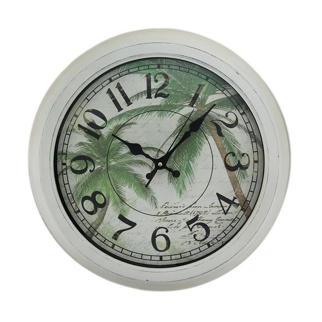 Palm Trees Postcard Print Distressed Round Metal Wall Clocks