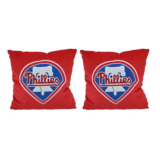 Pair Of Philadelphia Phillies 15 Inch Square Plush Throw Pillows