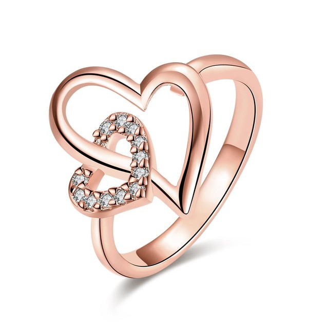 Rose Gold Plated Hollow Double Hearts Ring