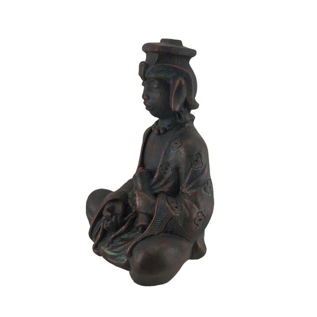 Meditating Buddhist Antique Bronze Finish Statue Statues