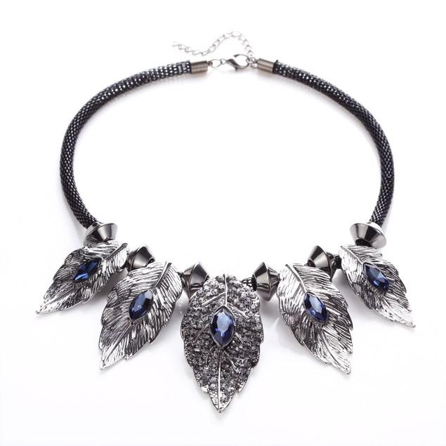 Alluring Birch Aqua Hue Crystal Leaf Statement Necklace