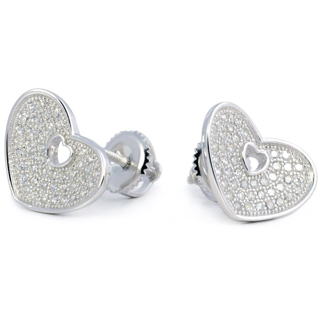 Sterling Silver Simulated Diamond Embedded Heart Studs