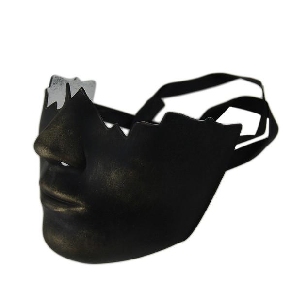 Black Gold Finish Broken Face Half Mask Mens Costume Masks