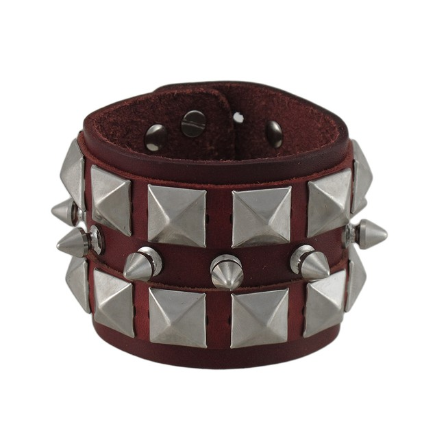 Brown Leather Spiked Studded Wristband Mens Leather Bracelets