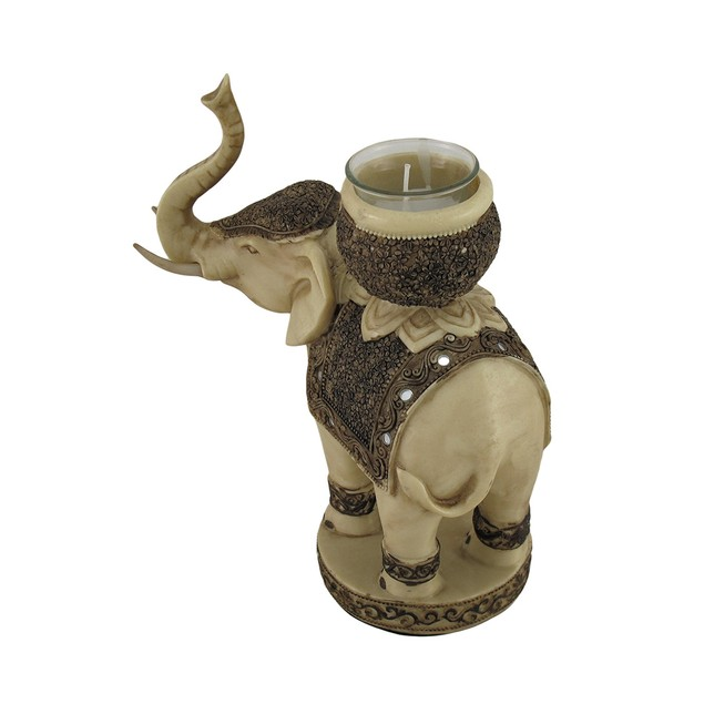 Antiqued Finish Elephant Tealight / Votive Candle Statues