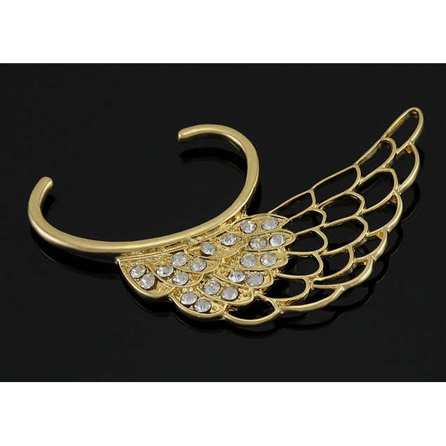 Gold Tone Angel Wing Rhinestone Ear Cuff Ear Cuffs