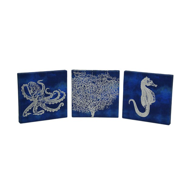 3 Pc. Blue And Metallic Silver Sea Life Canvas Prints