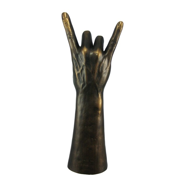 `Rock On` Hand Gesture Statue Bronzed Finish Statues