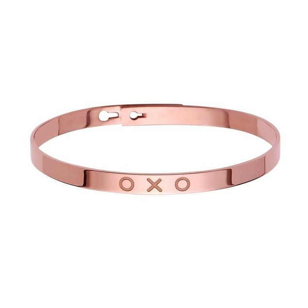 Sterling Silver XOXO Bangle Bracelet - 3 Colors