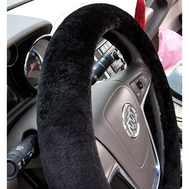 Zone Tech Plush Soft Stretch On Car Steering Wheel Cover Black