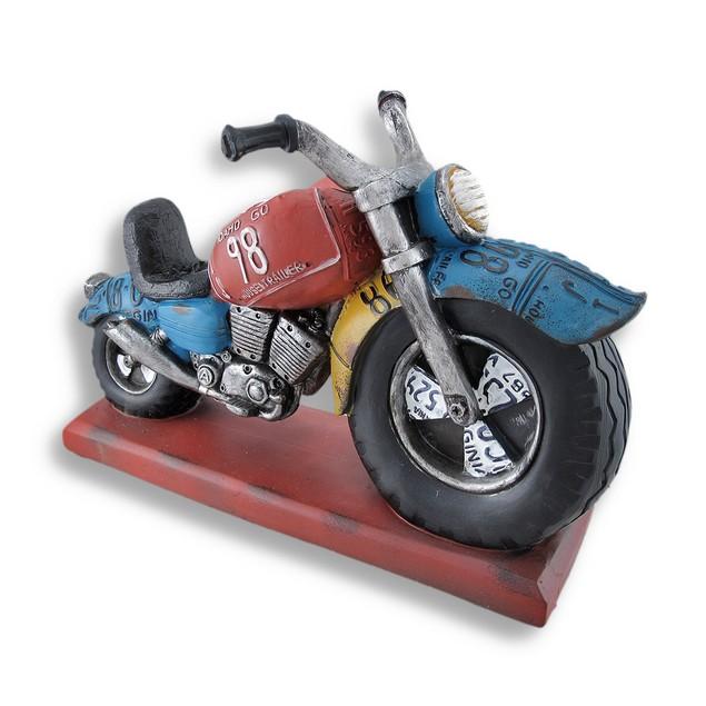 Big Wheel Motorcycle Sculpture Bottle Holder Tabletop Wine Racks