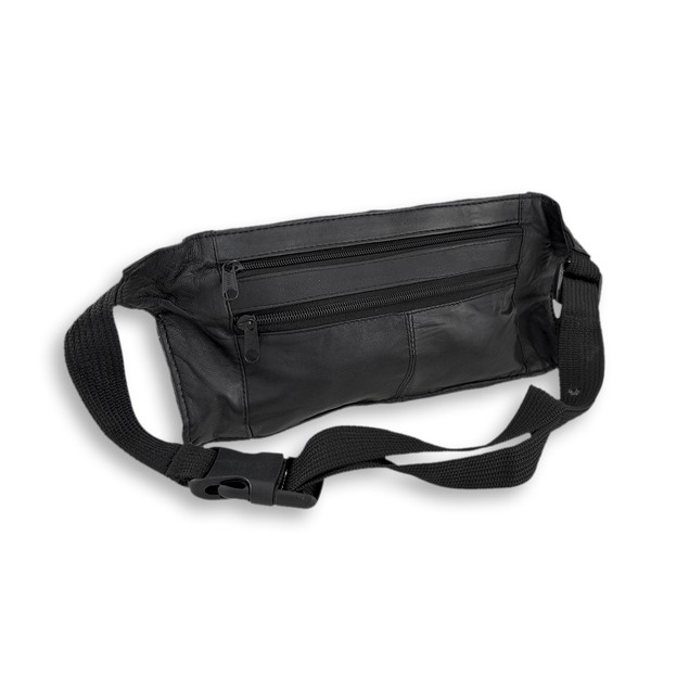 Flat Black Leather Waist Pouch With 4 Zipper Womens Waist Packs