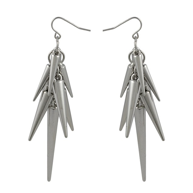 Chrome Plated Dangling Spike Earrings Dangle Earrings