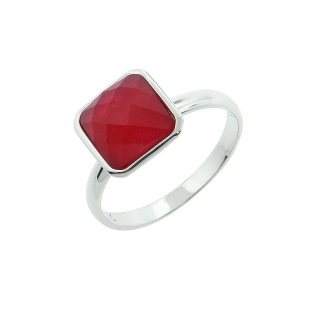 Sterling Silver and Red Dyed Jade Cocktail Ring