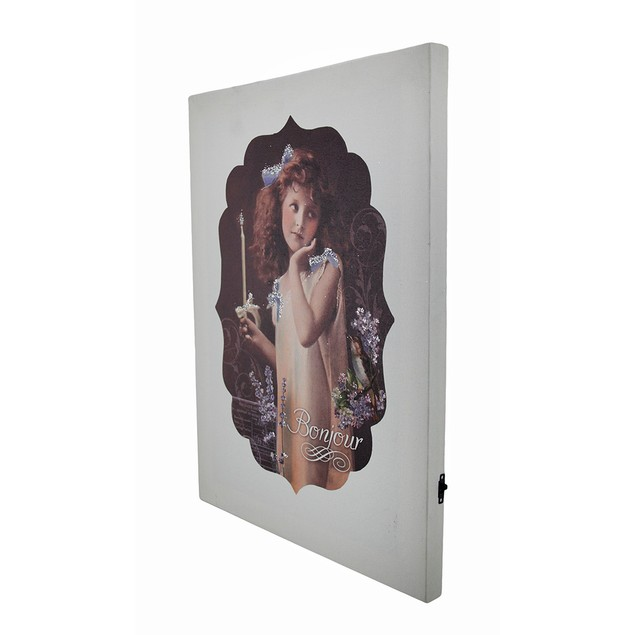 Vintage Look Bonjour Flickering Candle Girl Led Prints